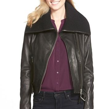 Women's Mackage Knit Collar Belted Leather Jacket,