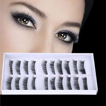 10 Pairs Long Cross False Eyelashes Makeup Natural Fake Thick Black Eye Lashes [8096802823]