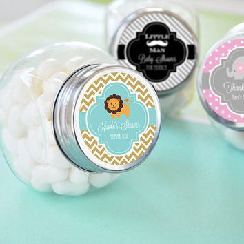 Baby Shower Jars - Personalized Baby Shower Favor Jars Personalized Candy Jar - Baby Shower Candy Buffet Jar - Baby Shower Favors  set of 12
