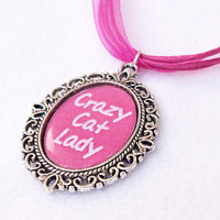 Crazy Cat Lady Necklace, Cat Lovers Gifts, Silver Plated Cameo Necklace, Pink