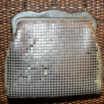 Vintage Retro Mod Hollywood Disco Evening Bag Covered Metal Mesh with Long Round Chain Strap