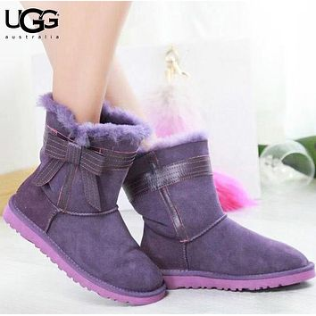 UGG Autumn And Winter Fashion New Bow Fur Shoes Keep Warm Boost Women Purple