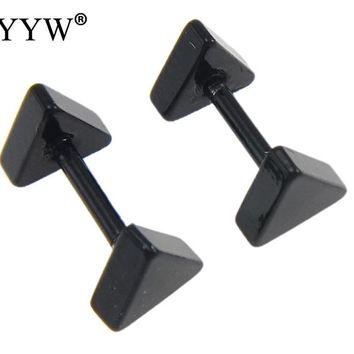 2017 New Men Jewelry Black Tone Piercing Stainless Steel Stud Earrings Punk Jewelry Triangle Stainless Steel Stud Earrings