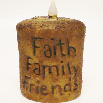 Faith, Family, Friends Tea Light Candle, Hand Poured Grubby Candles, Flameless Candles,