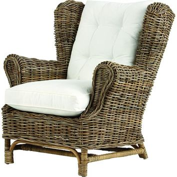 Kai Wingback Chair - Wicker Lounge Chair - Rattan Armchair - Rattan Lounge Chair - Wingback Chair - Indoor Wicker Furniture | HomeDecorators.com