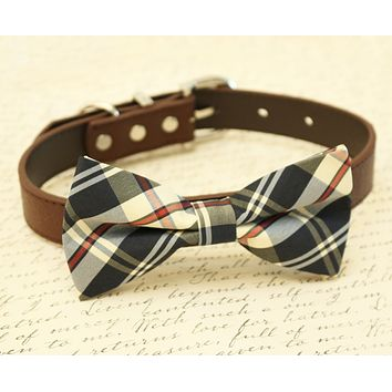 Plaid Burly wood dog bow tie attached to collar, Dog lovers, dog birthday