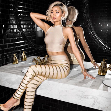 Ladies authentic pink and gold bandage halter/pants set