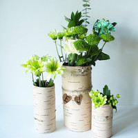 Rustic Wedding Centerpiece Vase Birch Bark by jadenrainspired
