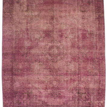"7'10"" x 10'4"" Pink Vintage Persian Overdyed Rug"