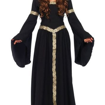 Witch Way Out Black Gold Long Flare Sleeve Hood Lace Up Back Maxi Dress Halloween Costume