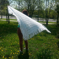 Wedding bridal shawl, crochet white lace wrap, winter wedding bride