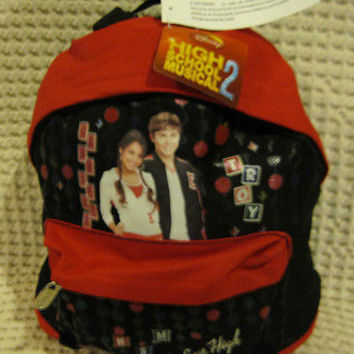 "Disney High School Musical 2 East High Red Black 10"" Backpack- NEW withTags!"