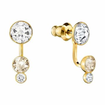 Swarovski Clear and Golden Shadow Crystal SLAKE DOT Earrings Gold Plated #5201102