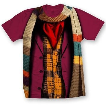 Doctor Who Classic Mens T-Shirt 4Th Doctor Costume Garnet M