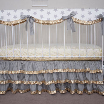 Hollywood  Stars Gold and Gray Bumperless Baby Crib Bedding