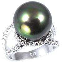 Simulated Tahitian Pearl Right-Hand Ring