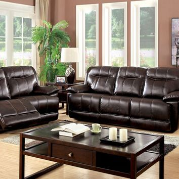 CM6128BR-PM 2 pc dolton collection brown breathable bonded leather upholstered power motion sofa with recliner ends and love seat with recliner ends