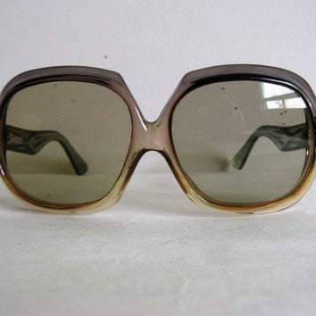 Two-Tone 70s Sunglasses Vintage German 1970s Bug Eye Brown Green Large Killer Eyewear