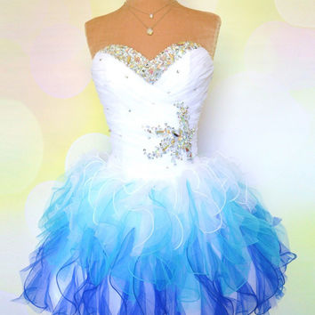 A-line Strapless White/Blue Short Prom Dresses, Homecoming Dresses