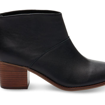 Black Full Grain Leather Women's Leila Booties
