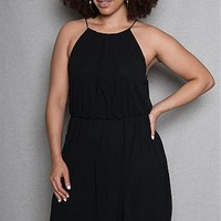 TRAC Sleeveless Chiffon Plus-Size Halter Dress - Black