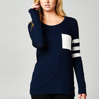 Sporty Knit Top - Navy