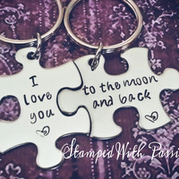 I love you to the moon and back - Puzzle Piece Keychain set