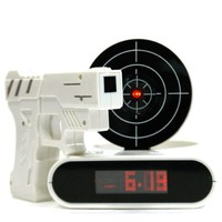 "Unique 2.3"" LCD Laser Gun Target Shooting Alarm Desk Clock Set"