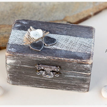 Personalized distressed ring box: rustic wedding burlap ring bearer, proposal box, engagement ring holder.