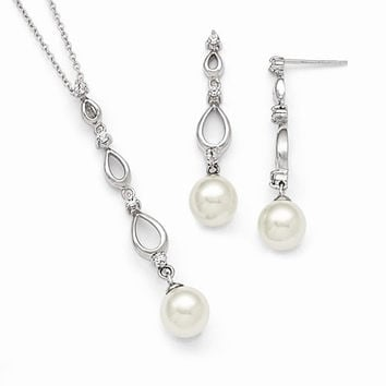 Majestik Pearl CZ Earring Necklace Set