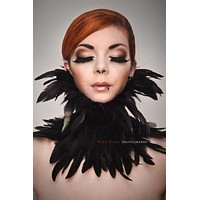 handmade Gothic black rooster feather collar, # FC635
