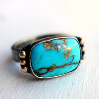 Black and Gold Turquoise Ring
