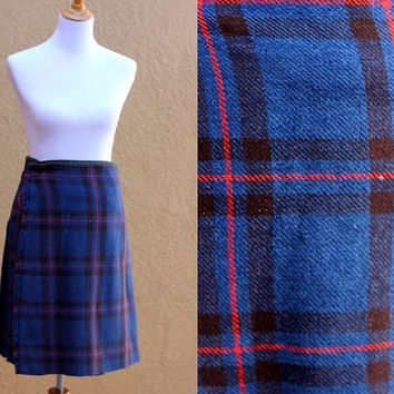 Vtg Wool kilt Authentic British Scottish plaid tartan grunge warm heavyweight wrap skirt Blue red handmade