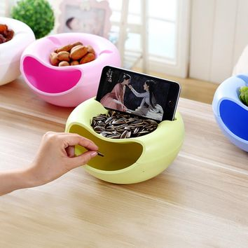 Urijk Creative Melon Seeds Nut Bowl Table Candy Snacks Dry Fruit Holder Storage Box Plate Dish Tray With Mobile Phone Stents