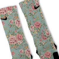 Floral Blue Customized Nike Elite Socks!!