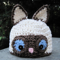 Crochet Baby Hat Girl Hat Boy Hat Siamese Cat Hat Animal Hat Halloween Hat Newborn Cat Hat Infant Beanie Photo Prop Soft Ecru