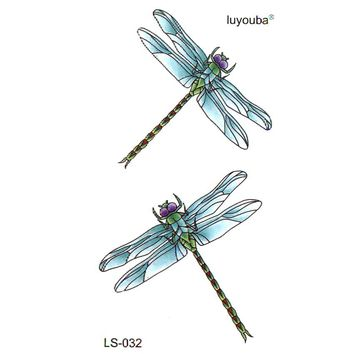 50pcs Blue dragonfly  waterproof temporary tattoos men harajuku tatoo  fake tatto faux tatouage espada henna tattoo
