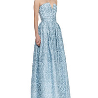 Alice + Olivia Kamila Swirly Strapless Gown