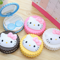 Hello Kitty Biscuit Contact Lens Case Simulating Cookie Cake Lenses Box Storage Set