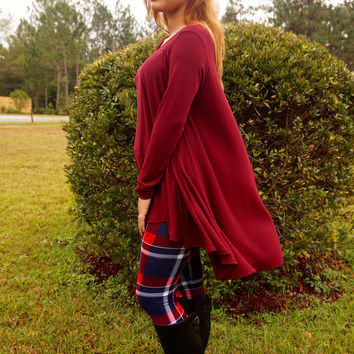 Fool For You Plaid Leggings - Navy + Red