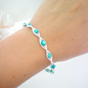 turquoise wire wrapped bangle bracelet by KimberlyAnnMarie on Etsy