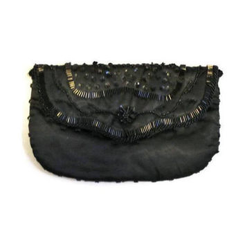 Black Beaded Satin Evening Bag, Prom Accessory