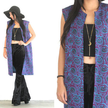 Vintage 60s TAPESTRY Abstract Long DUSTER Sleeveless Vest // Blue Purple // Boho Gypsy Hippie Hipster // XS Extra Small / Small / Medium