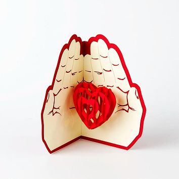 Valentines Day Gift Love in the Hand 3D Pop up Greeting Card with Matching Envelope Laser Cut Handmade