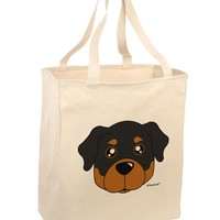 Cute Rottweiler Dog Large Grocery Tote Bag by TooLoud