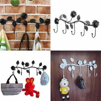 Creative Vintage Rose Flower Hook Clothes Rack Robe Key Holder Hat Hanger Wall Home Decoration