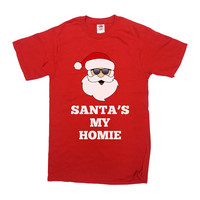 Funny Christmas T Shirt Santa's My Homie Gifts For Xmas Merry Christmas Christmas Gift Christmas Presents Mens Ladies Unisex Tee - SA432