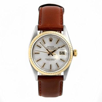 Rolex Mens 36mm Stainless Steel & Yellow Gold Datejust Swiss-Automatic Watch - 16013 - Silver Stick Dial - Yellow Gold Fluted Bezel – Brown Leather Strap (Certified Pre-Owned)
