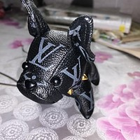 LV Louis Vuitton Hot Sale Women Men Chic Cute Small Dog Bag Hanging Drop Car Key Chain Bag Accessories