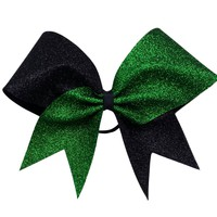 Two color glitter bow. Green and black glitter cheer bow.